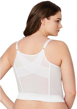 Comfort Choice Womens Plus Size Wireless Longline Lace Bra Easy Enhancer