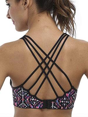 CharmLeaks Womens Workout Wirefree Crossback Padded Running Yoga Sports Sport Bra