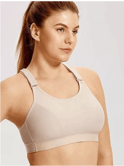 SYROKAN Women's Plus Size Sport Bra High Impact Full Figure Front Adjustable Wirefree