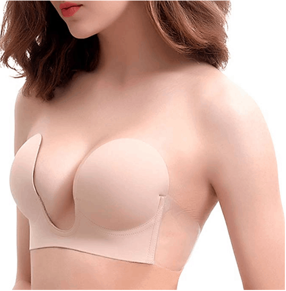 VeMee Strapless Bra U Plunge Push Up Self Adhesive Silicone Reusable Bra for Women