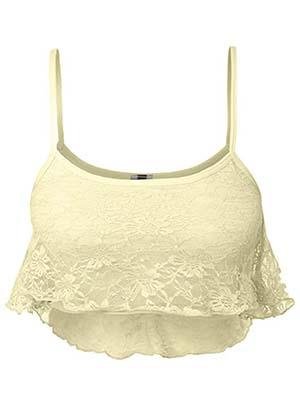LE3NO Floral Lace Padded Halter Crop Top Bralette