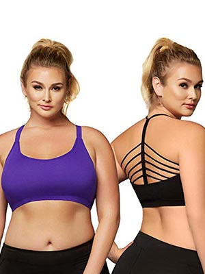 Plus Size Athletic Seamless Strappy Details Sports Bra Top