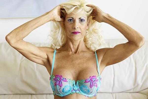 senior wearing a bra