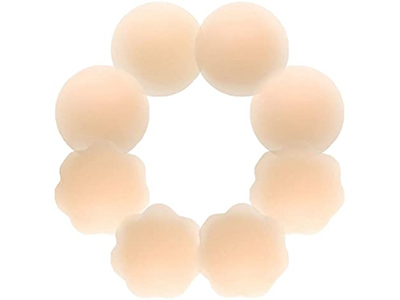Nipple Covers 4 Pairs Women's Reusable Adhesive Invisible Round Silicone Cover