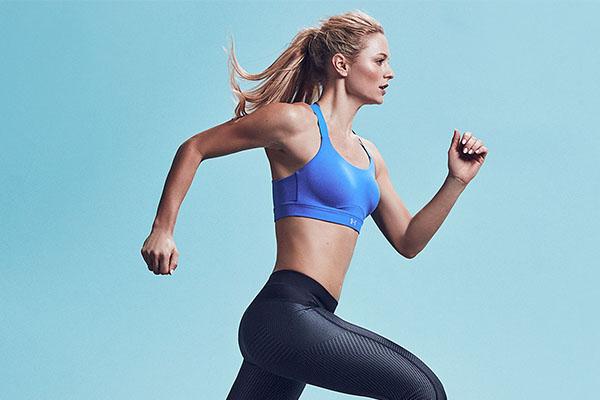 woman in running sports bra