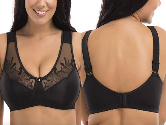 Delimira Women's Embroidered Full Coverage Wire Free Soft Cups Minimizer Bra