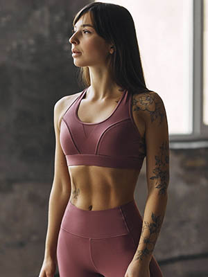 woman wearing tight sports bra