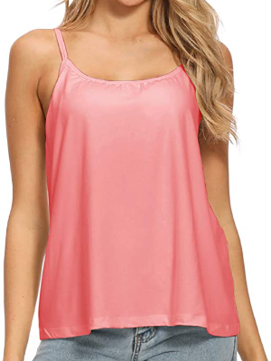 MS.ING Women Flowy Pleated Camisole with Built in Bra